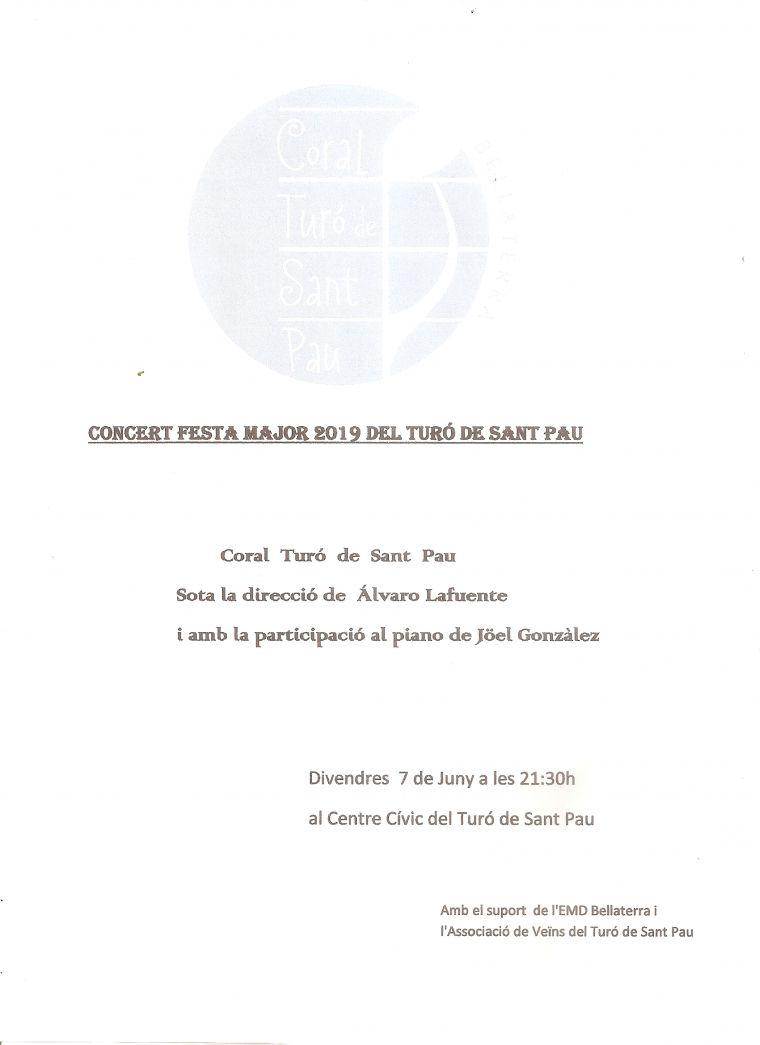 Cartell del concert de la Coral del Turó de Sant Pau