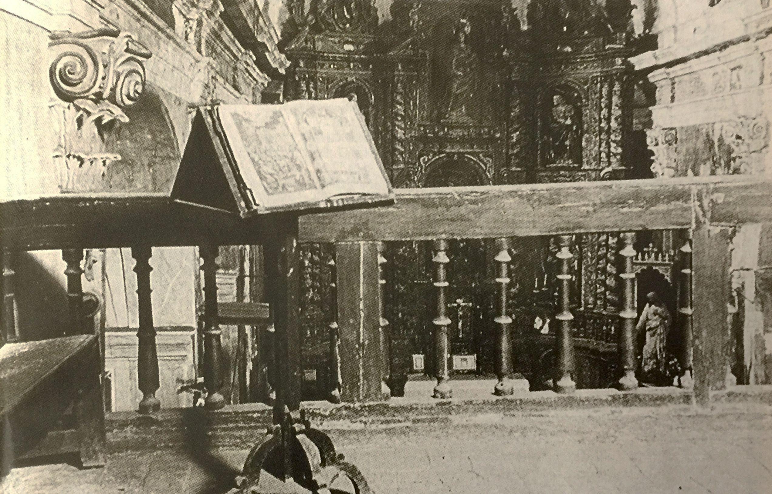 Cor i Retaule de l'Esglesia Vella de Cerdanyola, als anys 20 - (TOT Cerdanyola, 336) - Cedida per la Família Cabot